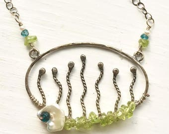Sterling Silver Floral Necklace Peridot Necklace With London Blue Topaz and Pearl Rustic Garden