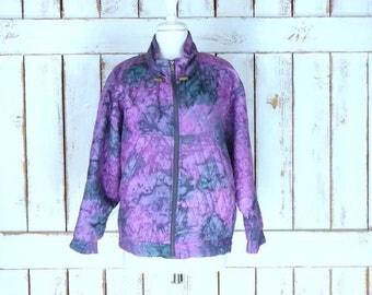 Vintage purple/grey quilted watercolor silk windbreaker jogging flight jacket/silk sports jacket/silk bomber