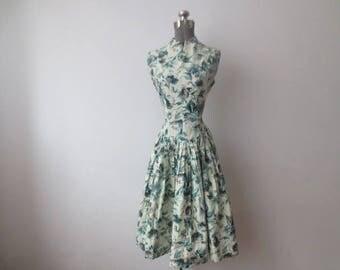 Vintage '50s Mandarin Collar, Drop Waist, Floral Sleeveless Dress w/Huge, Full Skirt, Small 34 Inch Bust