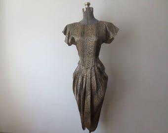 Vintage '70s/'80s Gold Shimmery Snakeskin Print Open Back, Tuxedo Cut Dress, Small - Medium