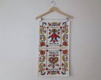 Vintage '50s/'60s Pennsylvania Dutch Linen Tea Towel, Love Birds / Home Is Where The Heart Is, 26 x 15 Inches