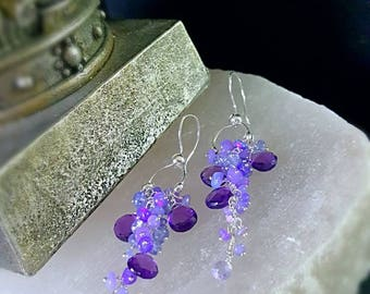 New! Ultra Violet Opals Tanzanite and Amethyst long Cluster Earrings Bridal Jewelry Gift for Her
