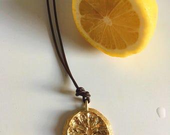 Lemon Wheel Medallion Necklace // Real Cast Lemon Pendant in Brass