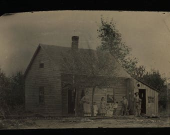 Great 1860s 70s Tintype Photo - Rural Family Outdoors in Front of House