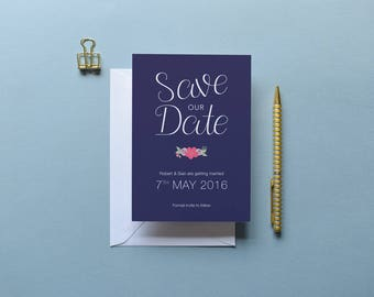 Rhiannon - Navy & Floral Save the Date | Printed Save the Date | Floral Invitation | Floral Wedding | Bespoke Invite