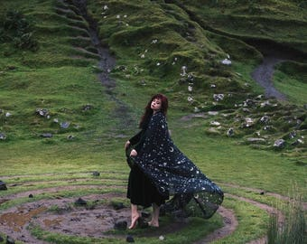 Black Stars & Moon cloak in vegan silk chiffon (polyester) cape with hood handfasting medieval dark fantasy witch wizard costume