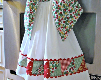 Flour Sack Tie On Hanging Dish/Kitchen towel-Patchwork Cherries housewarming hostess teacher gift