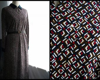 Vintage Dress / 60's Saks Fifth Avenue Mod Day Dress / Navy blue, white, red, olive green