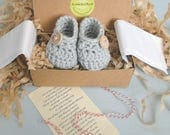 Grandparent Pregnancy Announcement,  Grandparent Poem,  BOOTIES IN A BOX®, Baby Boy or Girl Booties