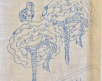 Vintage 1950s Can Can Dancers Tea Towel Embroidery Pattern
