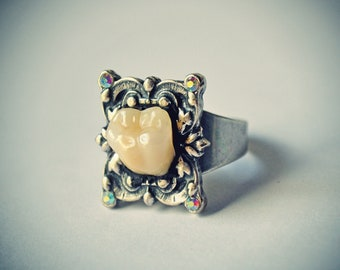 Victorian Gothic Creepy Molar Ring, Memento mori : antique silver adjustable ring, FX Swarovski chatons, and acrylic human tooth replica