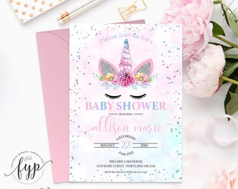 Unicorn Baby Shower Invitation - Girl Baby Shower Invitation - Girl Baby Shower Invite - Unicorn Invitation - Unicorn Face - Magical Unicorn