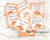 Mini Quote Cards ... Small / Planner / Journal Prompts/ Shabby Chic / Rose / Quotes / Words of Inspiration / Square / Goodies / Scrapbooking