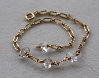 Herkimer Diamond Bracelet, 14k Gold Filled Chain
