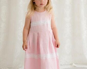 Blush pink flower girl dress and headband, Christening dress, Pink linen girl dress, Light pink girl dress, Toddler linen dress