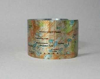 Cuff Bracelet Enchantments Colchuck Lake Stuart Range Washington Unique Camping Hiking Gift for Men or Women