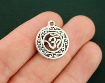 8 Om Charms Antique Silver Tone - SC3269