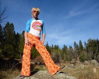 Crochet Pants Disco Inferno Superflares Bell Bottoms Orange