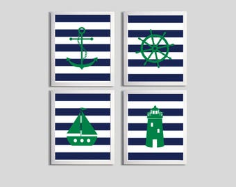 Nautical Nursery Art , Navy Beach Nursery Art , Green Navy Stripes Coastal Baby Art , Sailboat Anchor Lighthouse Wall Art Nursery Boy