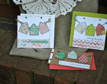 Set of Three Sending Lots of Love Note Cards, multicolored chevron, stationary, paper