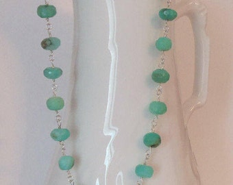 Peruvian Opal Blue Green Natural Stones Handmade Wire Wrapped Necklace with Sterling Silver