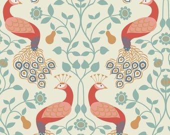 Peacock and Pear on Cream  A245.1 - CHIEVELEY - Lewis and Irene Fabric - By the Yard