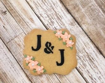 Rustic Wedding Favors, Monogrammed Favors, Personalized Cookie Favors - 1 dozen