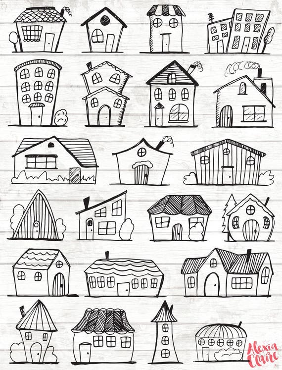 Mansion Drawing: Doodle House Clipart House Vector Art Home House City
