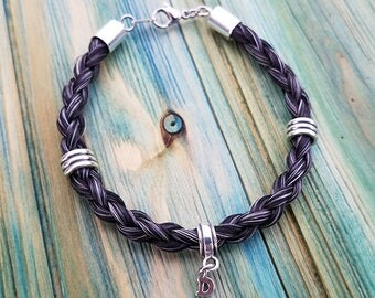 Horse Hair Bracelet with Sterling Silver Beads - Braided Horsehair Jewelry