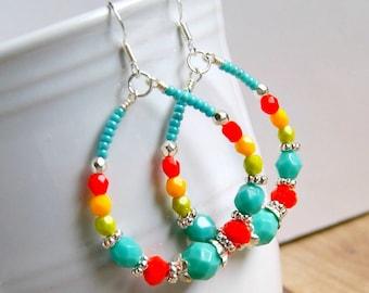 hoop earrings, beaded hoops, red aqua, silver hoops, czech glass earrings