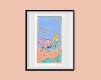 ORIGINAL Persian Painting/Hegira-The Prophet travel/Oriental painting-Persian miniature-Persian horse