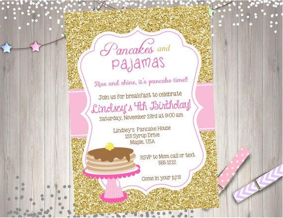 Pancakes and pajamas birthday party invitation invite pancake like this item filmwisefo