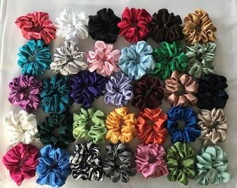 10 Satin Hair Scrunchies Handmade  33 Colors To Choose From   5 NEW COLORS ADDED
