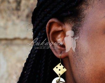 Brass Cow Bone Drop earrings,Ivory White Cow Bone Earrings,African jewelry