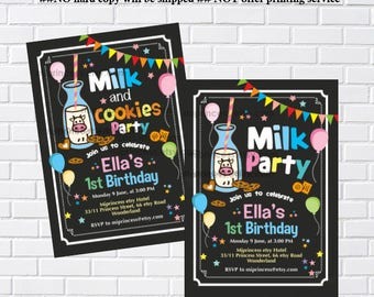 Milk and Cookies Birthday invitation, party 1st 2nd 3rd 4th 5th 6th 7th 8th 9th 10th  kids birthday invitation chalkboard  - card 956
