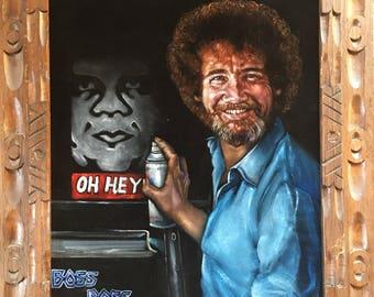 Boss Ross painting a happy little Obey - black velvet painting