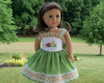 "SUPER SATURDAY SALE! Embroidered Strawberry Girl Sundress/ Doll Clothes for American Girl®  Maryellen, Kit, Melody or Other 18"" Doll"