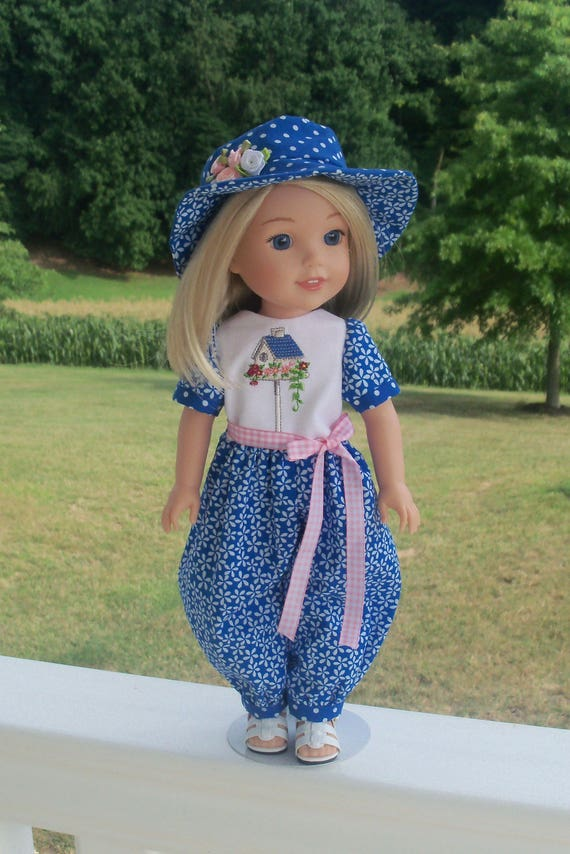 "SUPER SATURDAY SALE! 14"" Size /Romper, Hat & Sandals / Doll Clothes for American Girl®  Wellie Wishers or  Other 14"" Doll"