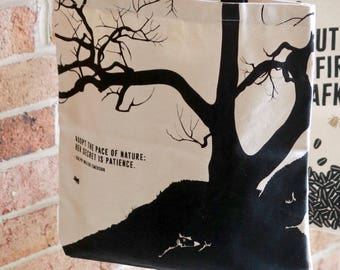 "Literary tote bag, ""Emerson"" canvas shopping bag, inspirational tote bag, literary gift, college student gift for wife, book bag"