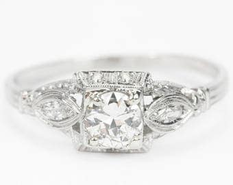Platinum Art Deco Original Vintage Antique 0.65tcw Old European Cut Diamond Engagement Ring, 1920's Filigree Diamond Engagement Ring