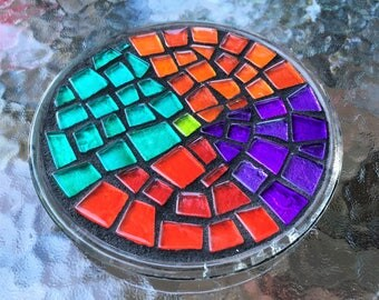 """MOSAIC CANDLEHOLDER / TRIVET - 6"""" Round - Unique, Gorgeous, Multi-Colored Glass Tiles on Glass Base / Ready-to-Ship - Ooak!"""