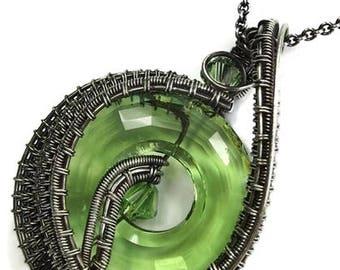 "Swarovski Crystal & Antiqued Sterling Silver ""Woven Donut"" Pendant Necklace"