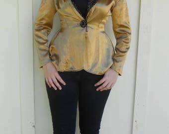 Vintage 1980s gold-glittered glam satin & velvet peplum blazer / dress coat, size Small