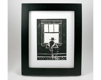 Cat in window linocut print, kitty daydreaming, original art, black and white ink, 5x7 print, antique table, old house architecture, gato