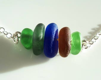 Seaham Sea Glass Green Necklace made in sterling silver - E1783 - from Seaham, UK