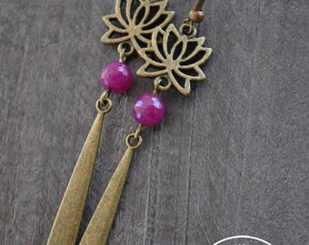 Boucles d'oreilles - Lotus - Rouge framboise - Bijou zen - Boucles d'oreilles lotus - Pierres naturelles - Coco Matcha