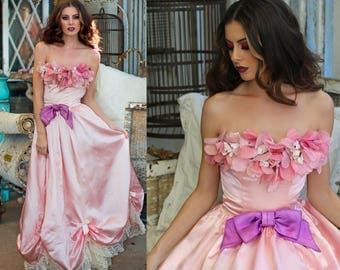 Vintage Princess Gown Party Dress Pink Satin Ballroom Dance Silk Floral & LACE Strapless Dress // Revived Designs by TatiTati Style on Etsy