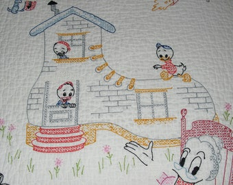 Sweet Embroidered Nursery Rhyme  Child's Quilt-34X52 Inches