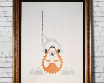 Cyclist bike screen print poster