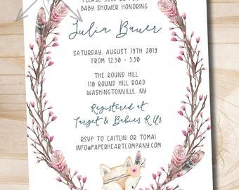 Woodland Fox Baby Shower Invitation - Watercolor Floral Invitation - Sweet Baby Shower - Custom PDF or Printed Invitation